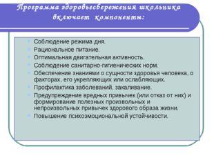 Программа здоровьесбережения школьника включает компоненты: Соблюдение режима