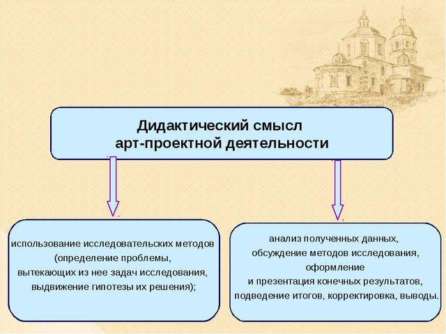 Дидактический смысл арт-проектной деятельности использование исследовательски...