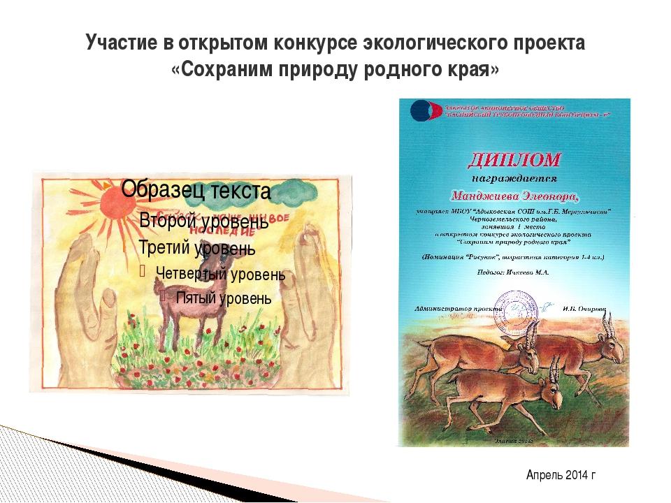 Участие в открытом конкурсе экологического проекта «Сохраним природу родного...