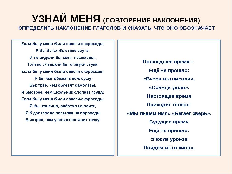 УЗНАЙ МЕНЯ (ПОВТОРЕНИЕ НАКЛОНЕНИЯ) ОПРЕДЕЛИТЬ НАКЛОНЕНИЕ ГЛАГОЛОВ И СКАЗАТЬ,...