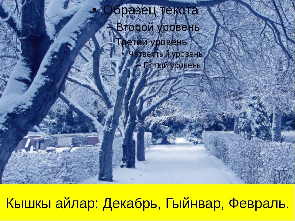 Кышкы айлар: Декабрь, Гыйнвар, Февраль.