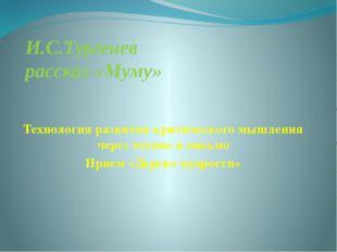 И.С.Тургенев рассказ «Муму» Технология развития критического мышления через ч
