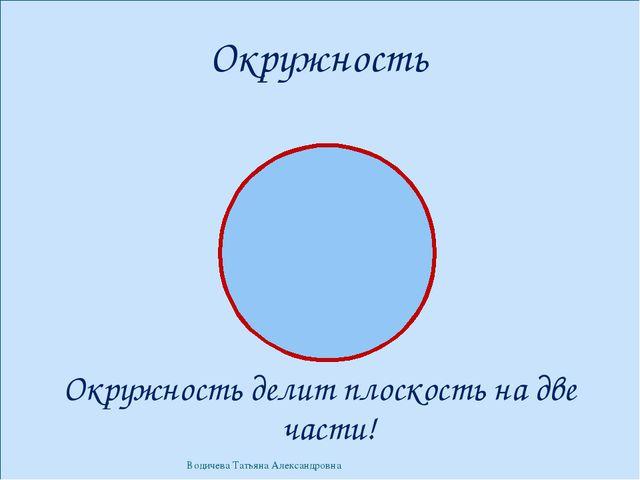 Окружность Окружность делит плоскость на две части! Водичева Татьяна Александ...