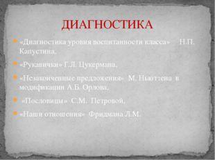 «Диагностика уровня воспитанности класса» Н.П. Капустина, «Рукавички» Г.Л. Цу