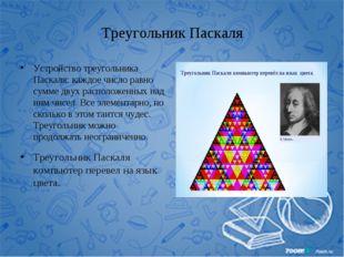 Треугольник Паскаля Устройство треугольника Паскаля: каждое число равно сумме