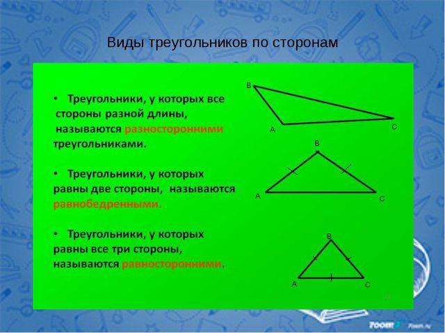Виды треугольников по сторонам