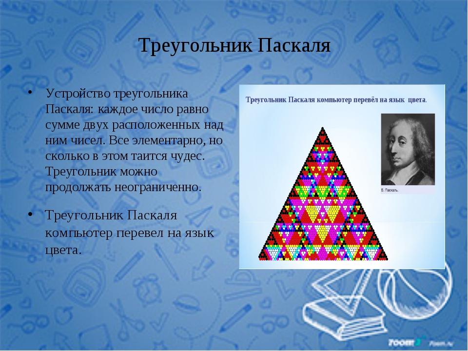 Треугольник Паскаля Устройство треугольника Паскаля: каждое число равно сумме...