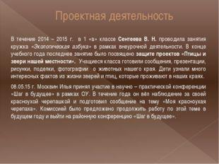 Проектная деятельность В течение 2014 – 2015 г. в 1 «а» классе Сентеева В. Н.