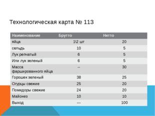 Технологическая карта № 113 Наименование Брутто Нетто яйца 1\2шт 20 сельдь 10