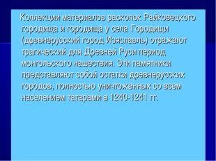 Коллекции материалов раскопок Райковецкого городища и городища у села Городи