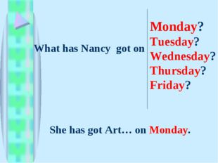 What has Nancy got on Monday? Tuesday? Wednesday? Thursday? Friday? She has g