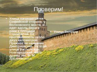 Проверим! Улица начинается на Софийской стороне, у Волховского моста, и идет