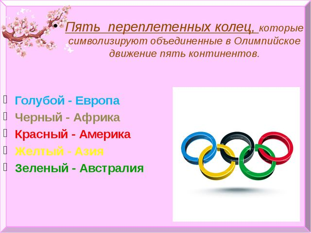 Пять переплетенных колец, которые символизируют объединенные в Олимпийское дв...