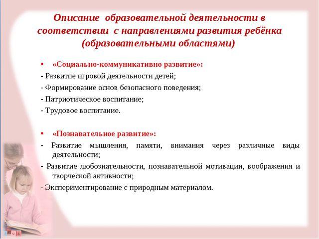Описание образовательной деятельности в соответствии с направлениями развития...