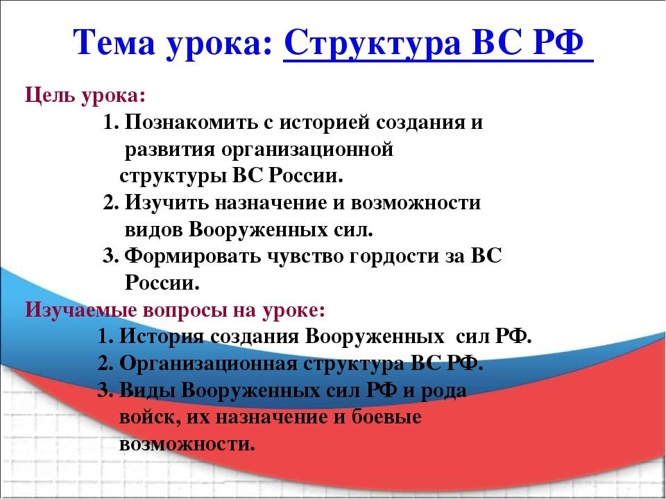 Тема урока: Структура ВС РФ Цель урока: 1. Познакомить с историей создания и...
