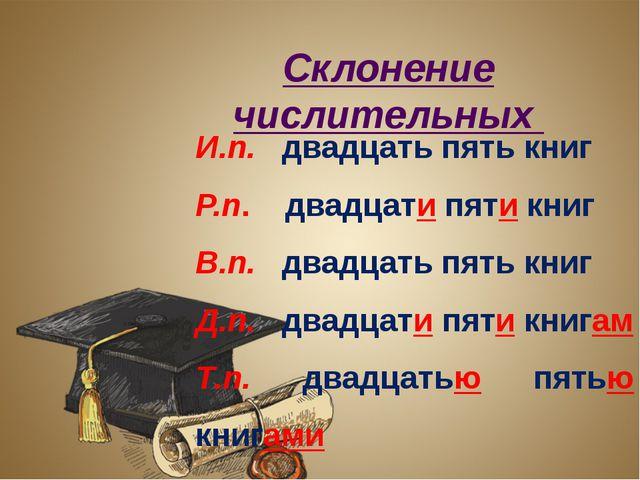 Склонение числительных И.п. двадцать пять книг Р.п. двадцати пяти книг В.п....