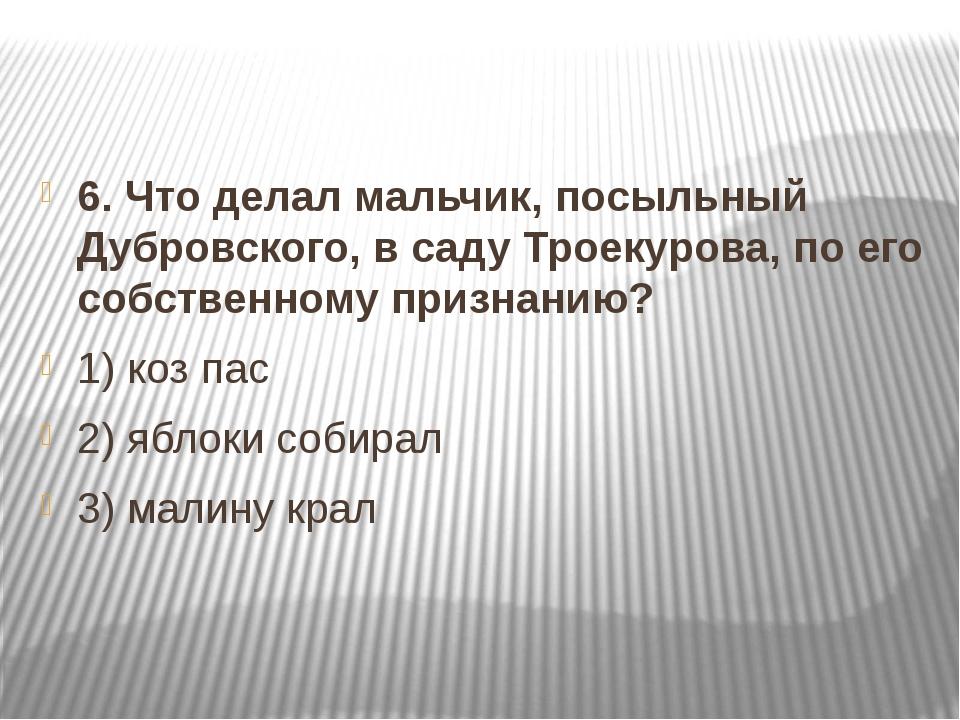 6. Что делал мальчик, посыльный Дубровского, в саду Троекурова, по его собст...