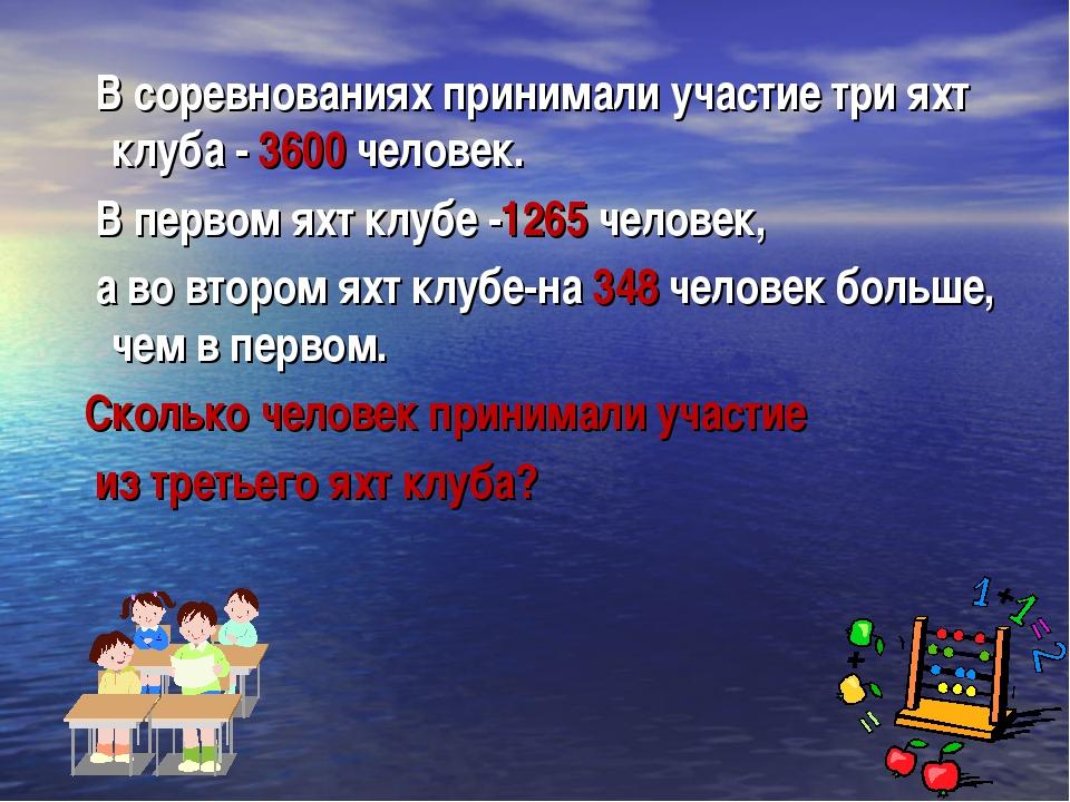 В соревнованиях принимали участие три яхт клуба - 3600 человек. В первом яхт...