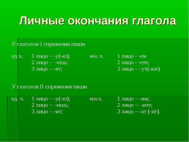 Личные окончания глагола У глаголов I спряжения пиши ед.ч.1 лицо – -у(-ю);...