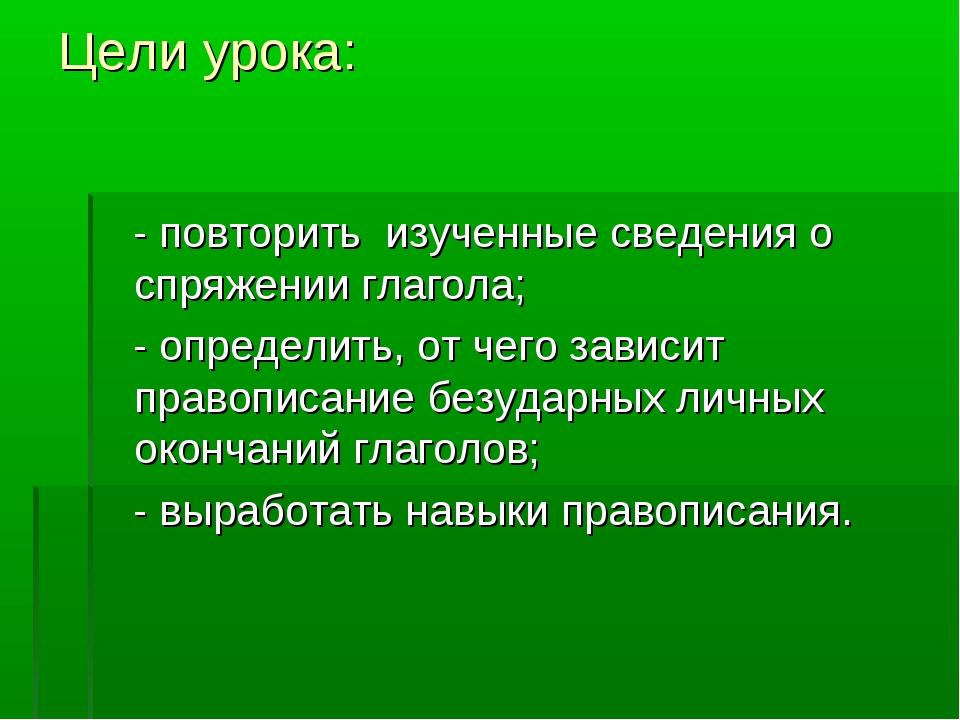 Цели урока: - повторить изученные сведения о спряжении глагола; - определить,...