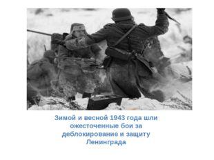 Зимой и весной 1943 года шли ожесточенные бои за деблокирование и защиту Лени