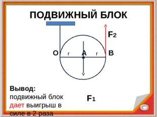 ПОДВИЖНЫЙ БЛОК O r A r В F1 F2 Вывод: подвижный блок дает выигрыш в силе в 2