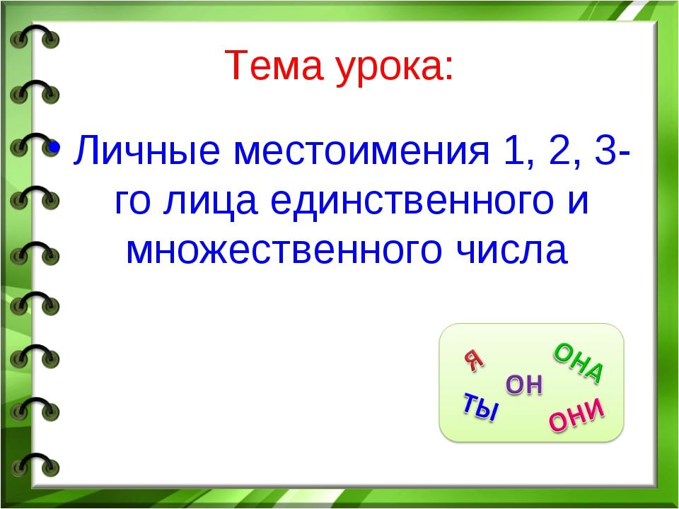 Тема урока: Личные местоимения 1, 2, 3-го лица единственного и множественного...