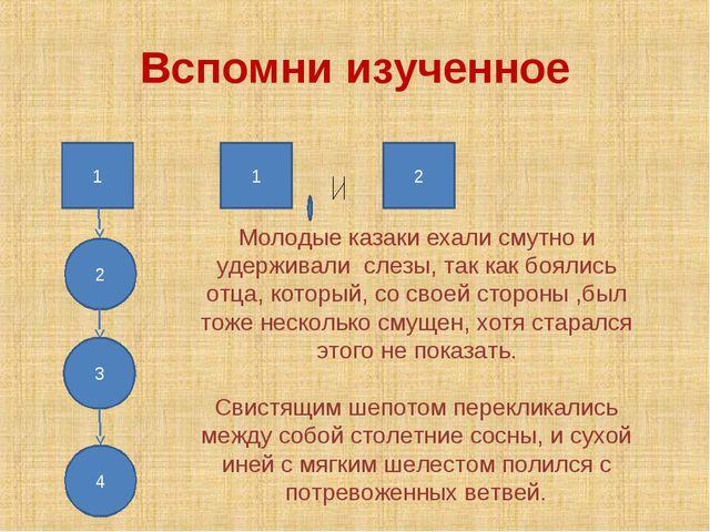 Вспомни изученное Молодые казаки ехали смутно и удерживали слезы, так как боя...