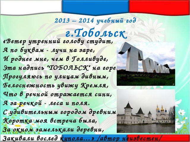 2013 – 2014 учебный год г.Тобольск «Ветер утренний голову студит, А по буквам...