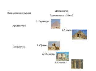 Направления культуры Достижения (один пример – 1балл) Архитектура 1. Пирамиды
