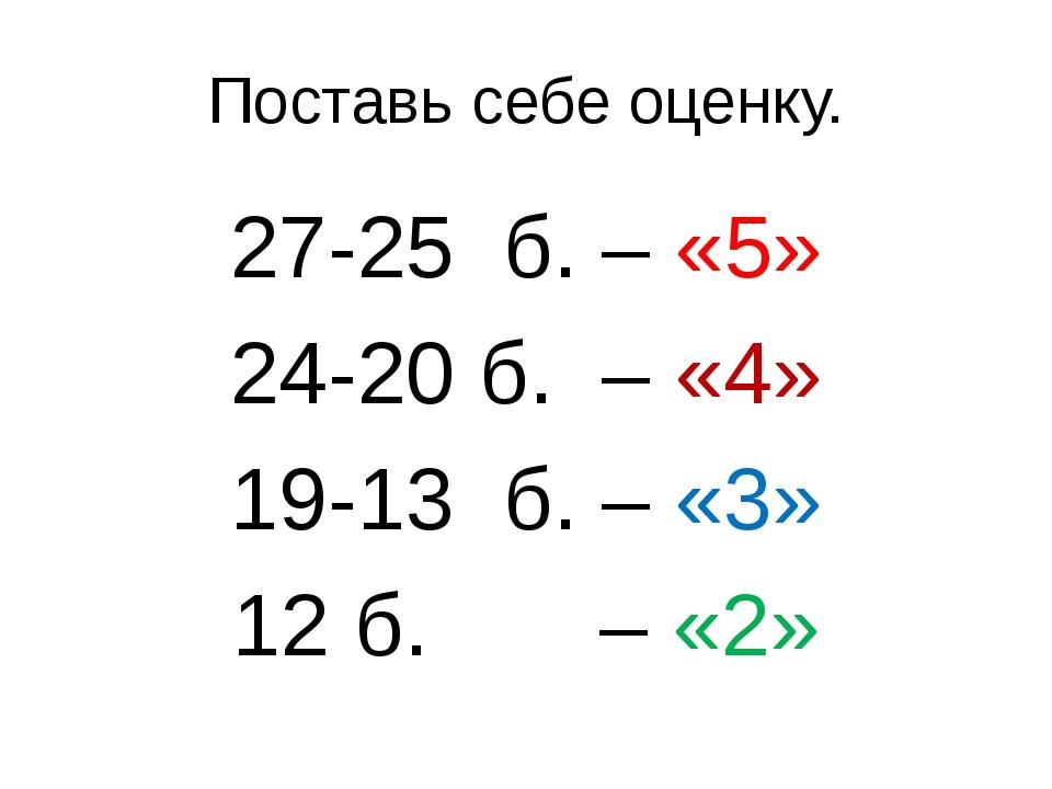 Поставь себе оценку. 27-25 б. – «5» 24-20 б. – «4» 19-13 б. – «3» 12 б. – «2»