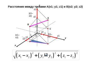 x y 0 1 1 A z 1 B x1 x2 y1 y2 z1 z2 |x1–x2| |y1–y2| |z1–z2| C Расстояние меж