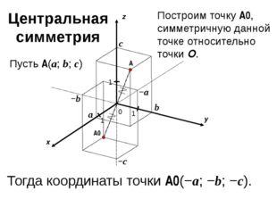 x y z 0 1 1 A 1 a b c Пусть A(a; b; c) −a −b −c A0 Построим точку A0, симмет