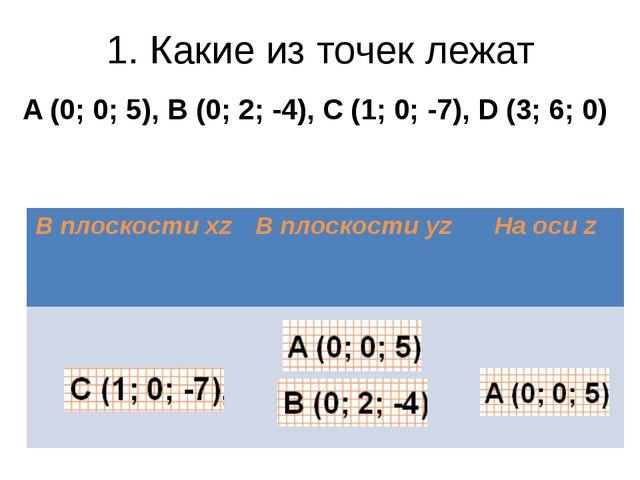 1. Какие из точек лежат A (0; 0; 5), B (0; 2; -4), C (1; 0; -7), D (3; 6; 0)...