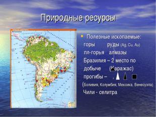 Природные ресурсы Полезные ископаемые: горы руды (Ag, Cu, Au) пл-горья алмазы