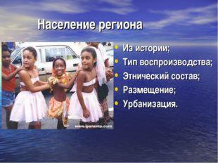 Население региона Из истории; Тип воспроизводства; Этнический состав; Размещ