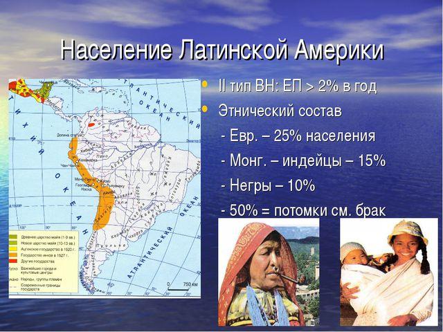 Население Латинской Америки II тип ВН: ЕП > 2% в год Этнический состав - Евр....