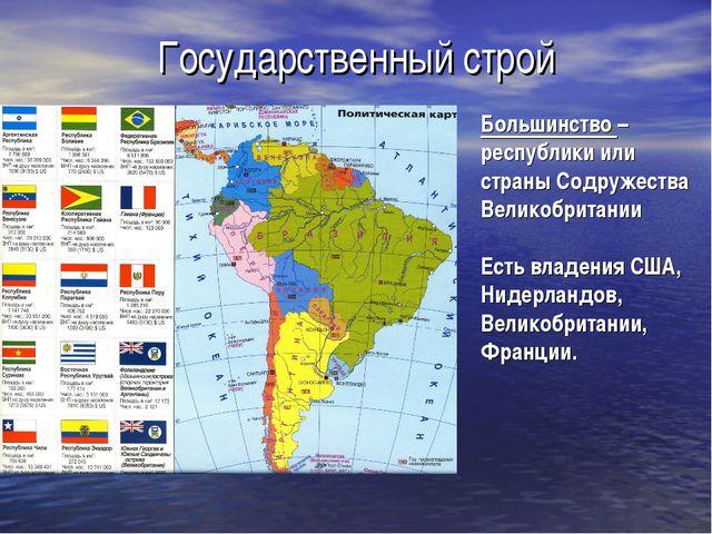 Государственный строй Большинство – республики или страны Содружества Великоб...