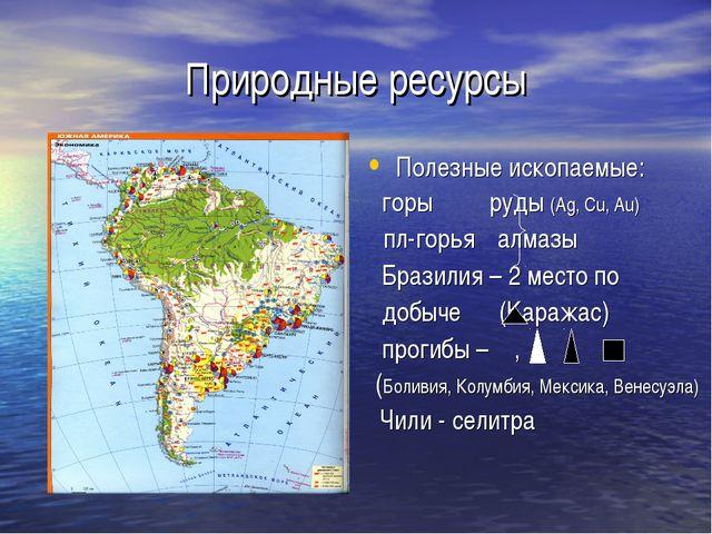Природные ресурсы Полезные ископаемые: горы руды (Ag, Cu, Au) пл-горья алмазы...