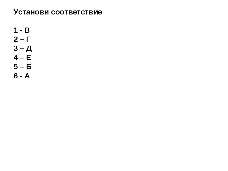 Установи соответствие 1 - В 2 – Г 3 – Д 4 – Е 5 – Б 6 - А