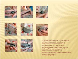 1. Изготовление туловища: шарик превращается в лепешечку; из лепешки формируе