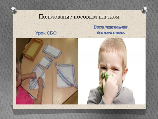 Пользование носовым платком Урок СБО Воспитательная деятельность