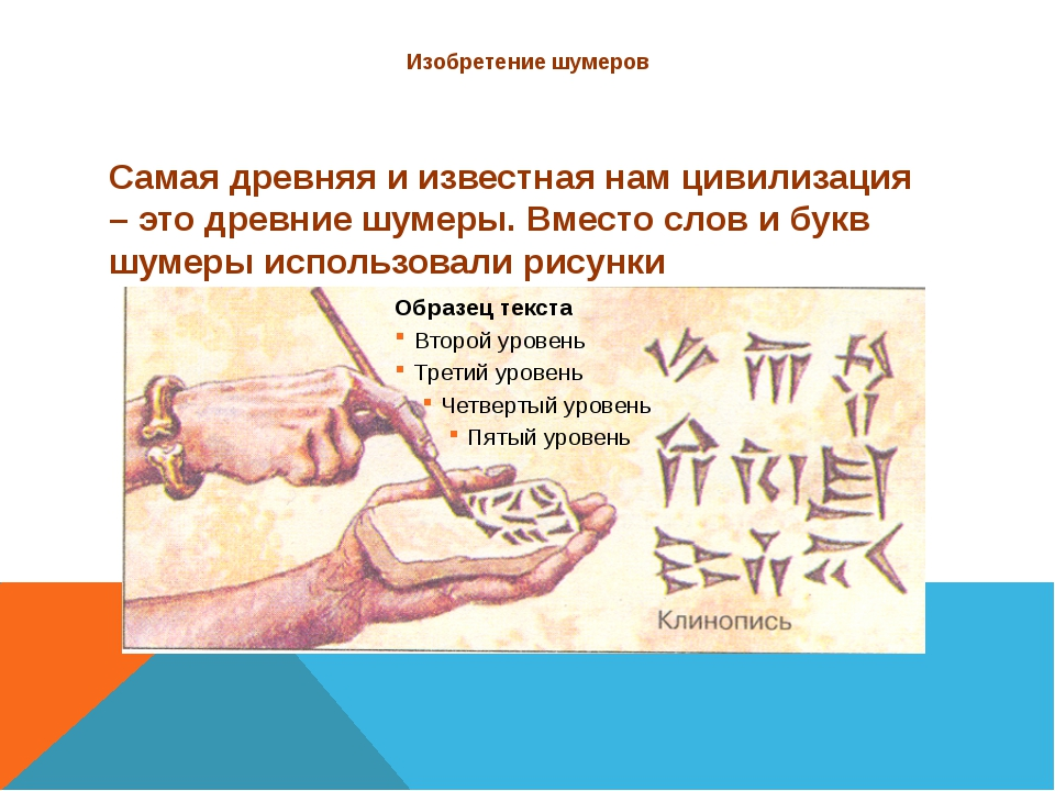 Изобретение шумеров Самая древняя и известная нам цивилизация – это древние ш...
