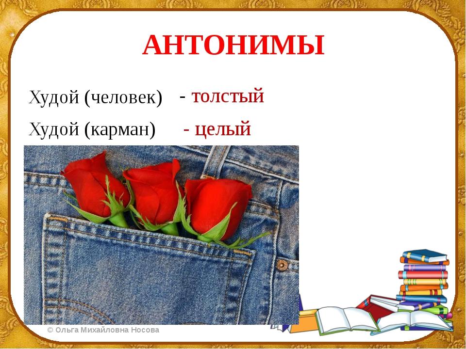 АНТОНИМЫ Худой (человек) Худой (карман) - толстый - целый ©Ольга Михайловна...