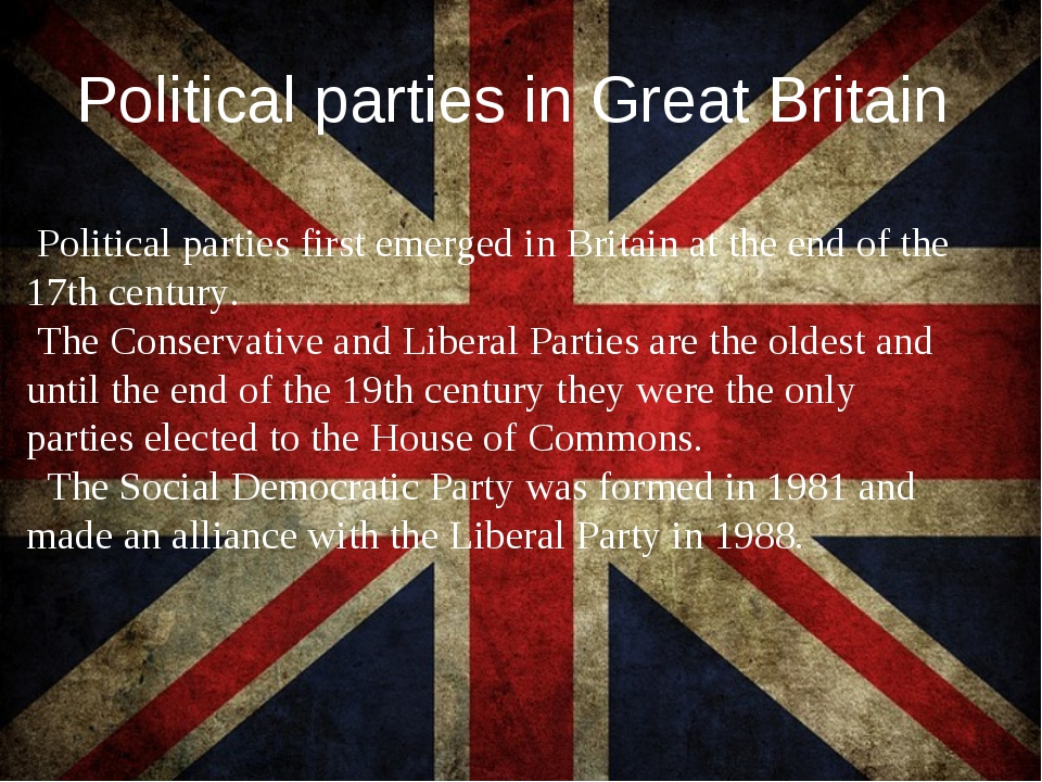Political parties in Great Britain Political parties first emerged in Britain...