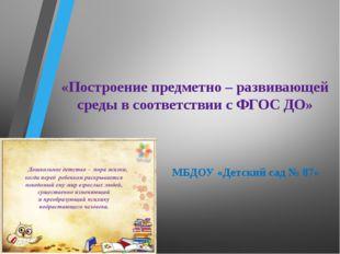 «Построение предметно – развивающей среды в соответствии с ФГОС ДО» МБДОУ «Д
