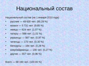 Национальный состав Национальный состав (на 1 января 2010 года) русские — 49