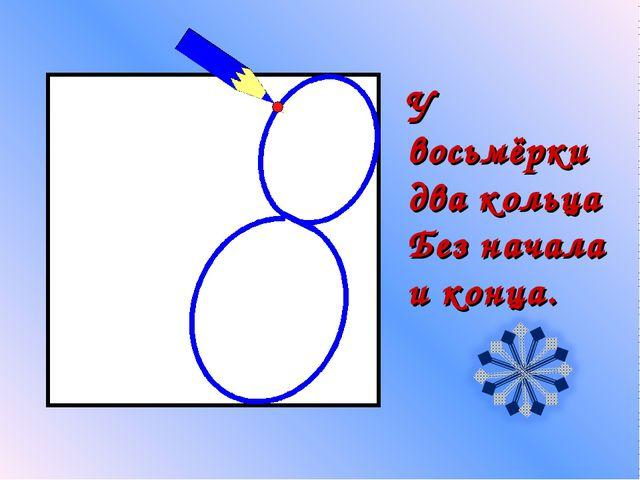 У восьмёрки два кольца Без начала и конца.