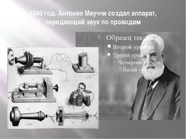 1860 год. Антонио Меуччи создал аппарат, передающий звук по проводам