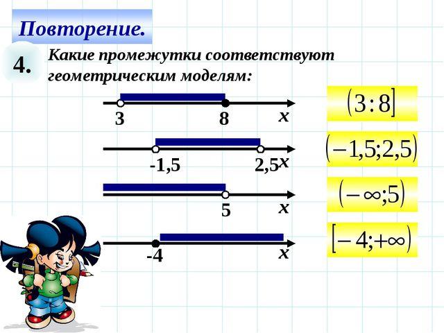 4. Какие промежутки соответствуют геометрическим моделям:
